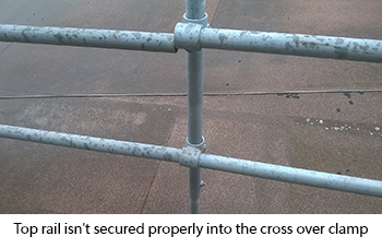Top rail of guardrail not secured